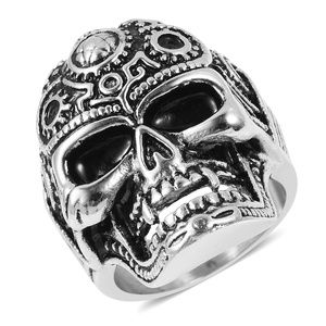 Other - Black Oxidized Stainless Steel Gearhead Skull Men'